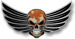 GOTHIC SKULL With Wings Motif  & Rusty Metal Rust Patina External Vinyl Car Sticker 150x80mm